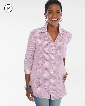 No Iron Petite Cotton-Blend Dot-Striped Pocket Tunic