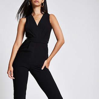 River Island Womens Black wrap front tie waist jumpsuit