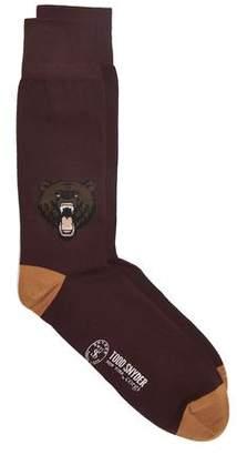Corgi Angry Bear Socks in Port
