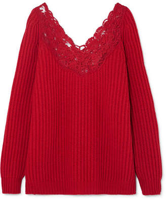 Balenciaga Lingerie Lace-trimmed Ribbed Wool Sweater - Red