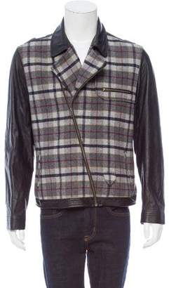 Timo Weiland Leather-Trimmed Plaid Paneled Jacket