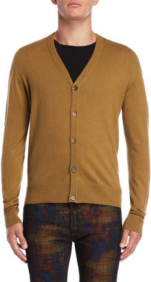 Maison Margiela Suede Leather Trim Cardigan