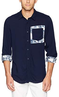 GUESS Men's Long Sleeve Rayon Button Down Shirt