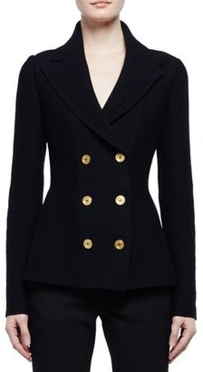 Alexander McQueen Double-Breasted Sweater Jacket, Black $2,145 thestylecure.com