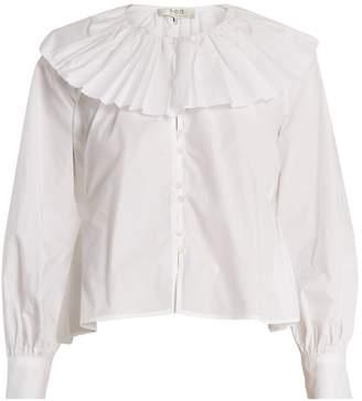 Sea Pleated-collar cotton blouse