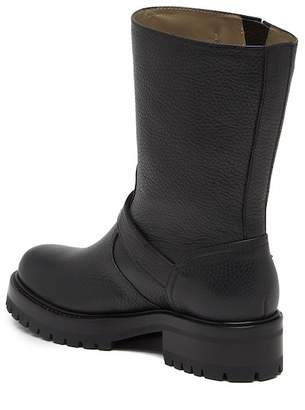 Versace Pebbled Leather Moto Boot