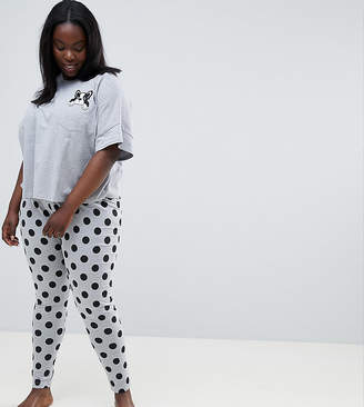 Asos DESIGN Curve Frenchie Pocket Tee And Legging Pajama Set