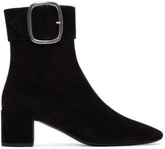 Saint Laurent Black Joplin Buckle Boots