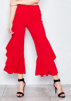 4df075dcb8a Missy Empire Missyempire Missandei Red Ruffled Cropped Trousers