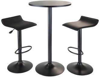 Winsome Wood Obsidian 3pc Pub Set, Round Table with 2 Airlift Stools all Black