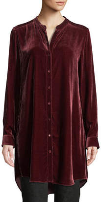 Eileen Fisher Long Washable Velvet Tunic Top, Petite