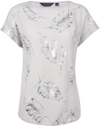 Dorothy Perkins Womens Silver Colour Foil Printed T