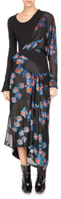 Atlein Floral Jacquard Draped Midi Dress