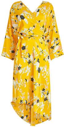 Diane von Furstenberg Printed Silk Dress with Asymmetric Hem