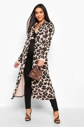 boohoo Maternity Leopard Print Duster Jacket