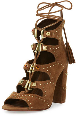 Ash Alexa Studded Lace-Up Sandal, Brown $285 thestylecure.com