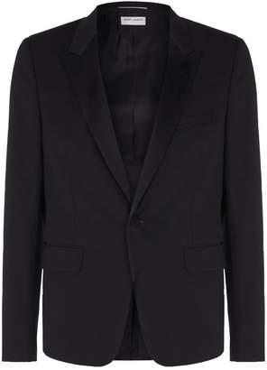Saint Laurent Satin Peak Lapel Tuxedo Jacket