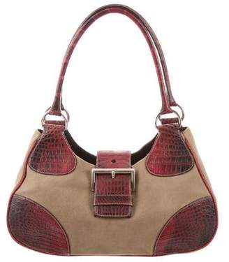 Prada Crocodile-Trimmed Canapa Bag