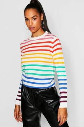 boohoo Tall Rainbow Stripe Jumper