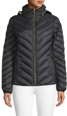 MICHAEL Michael Kors Chevron Hooded Puffer Coat
