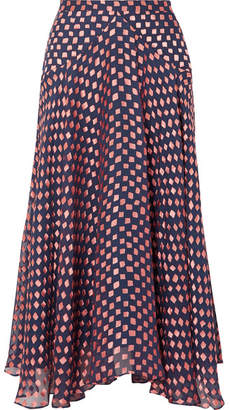 Saloni Ida-b Fil Coupé Silk-blend Chiffon Midi Skirt - Navy