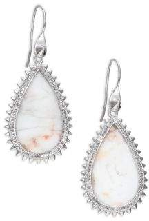 Eddie Borgo White Lace Agate& Pave Crystal Small Studded Teardrop Earrings