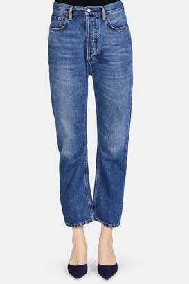 Acne Studios Log Straight Leg Jean - Mid Blue