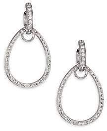 Jude Frances Women's Classic Diamond & 18K White Gold Teardrop Earring Charm Frames