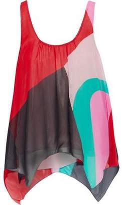Joie Felixa Asymmetric Color-Block Silk-Chiffon Tank