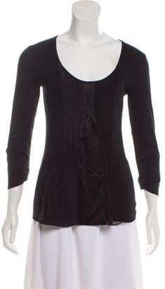 Brunello Cucinelli Silk-Accented Long Sleeve Top Black Silk-Accented Long Sleeve Top