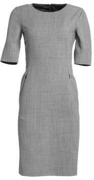 Akris Double Face Fil A Fil Check Wool Sheath Dress