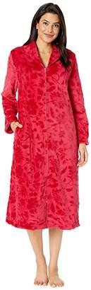 Karen Neuburger 47 Embossed Plush Robes Long Sleeve Zip Front