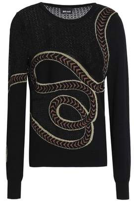 Just Cavalli Paneled Open And Jacquard-Knit Cotton-Blend Sweater