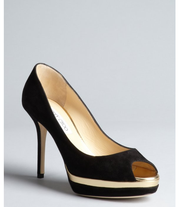 Jimmy Choo black suede 'Meringue' platform peep toe pumps