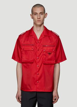 Prada Patch Pocket Nylon Shirt in Red