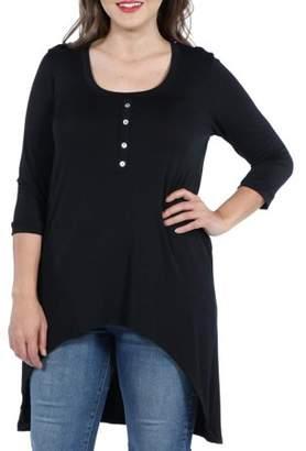 24/7 Comfort Apparel Laila Henley Neckline Plus Size Tunic Top