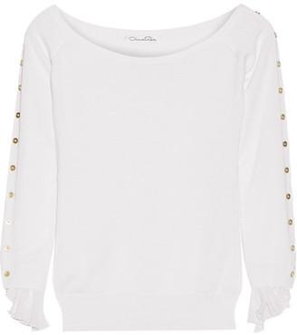 Oscar de la Renta - Off-the-shoulder Chiffon-trimmed Wool And Silk-blend Sweater - Off-white $790 thestylecure.com