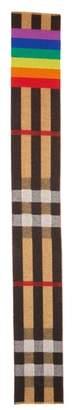 Burberry Rainbow Stripe Mega Check Cashmere Blanket Scarf