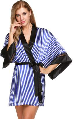 Seafolly Ekouaer Women's Lace Trim Short Kimono Robe Stripe Printed Sleepwear Nightgown