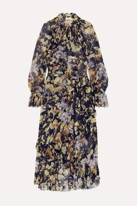 Zimmermann Sabotage Ruffled Floral-print Crepon Midi Dress - Navy