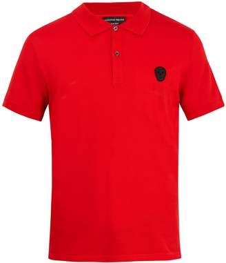 Alexander McQueen Skull-appliqué cotton-piqué polo shirt