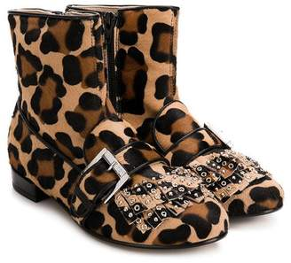 No.21 Kids studded fringed ankle boots