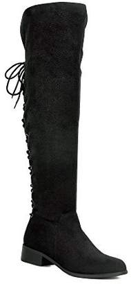 3675a62cefb WestCoast Women s Over The Knee Boots Back Corset Lace Up Fold Cuff Back  Tie Flat Knee