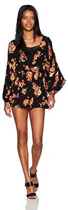 Angie Women's Long Sleeve Printed Romper with Built in Cami