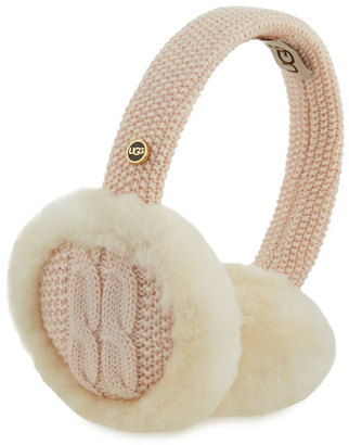 UGG Wired Cable-Knit Crochet Earmuffs, Pearl $75 thestylecure.com
