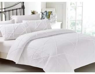 California Design Den Crazy Ruffled Quilt Set White Twin/Twin XL