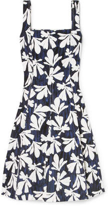 Oscar de la Renta Pleated Printed Stretch-cotton Dress - Navy