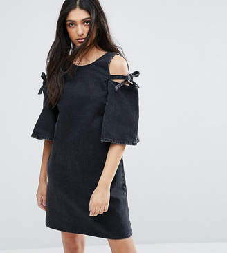 Asos Tall TALL Denim Peep Shoulder Shift Dress With Bow Detail