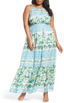 Eliza J Print Tiered Halter Maxi Dress (Plus Size) $178 thestylecure.com