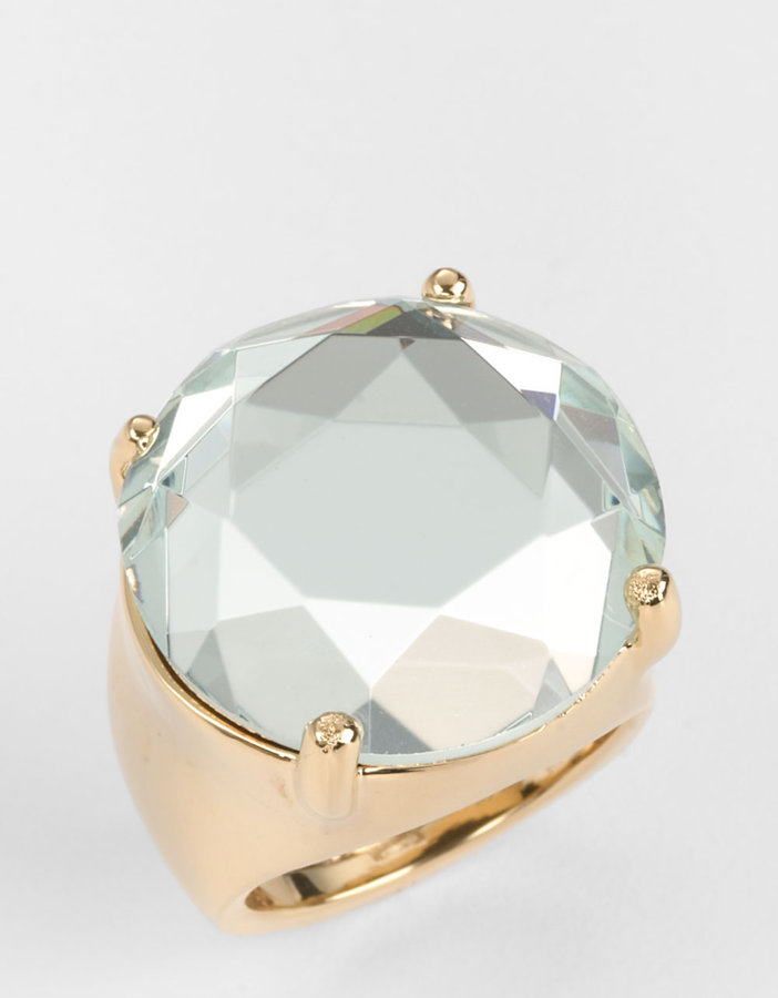 KATE SPADE NEW YORK 12 Kt. Gold-Plated Clear Stone Cocktail Ring